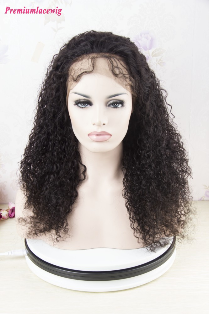 Premium Full Lace Wig Brazilian Kinky Curly Human Hair 18inch