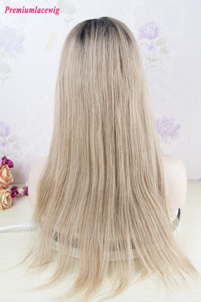 Root Color 1B-27 Full Lace Wig Peruvian Straight Hair 18inch