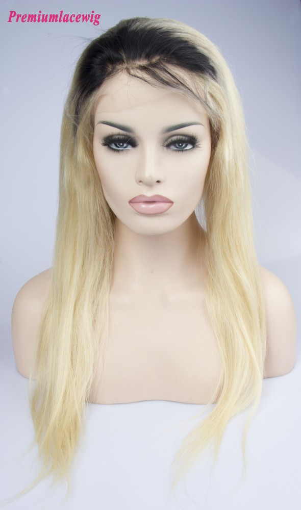 Indian Straight Full Lace Human Hair Wigs Ombre 1b 613 18inch
