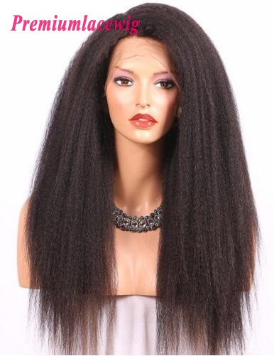 Peruvian Kinky Straight Hair 360 Lace Wigs 18inch 150% Hair Density