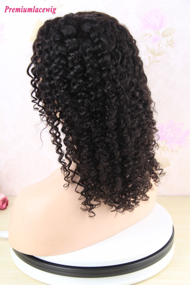 14inch 150 Density Afro Kinky Curly Full Lace Wig Brazilian Virgin Hair Deep Curly Hair Texture Full Lace Wigs Premium Lace Wigs Pre Plucked Full Lace Wigs Human Hair Wig Peruvian Virgin Hair