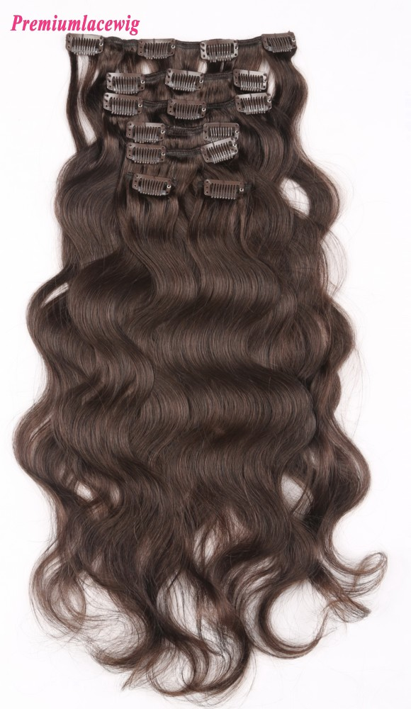 16inch #3 7pcs Body Wave Brazilian Cilp in Human Hair Extensions