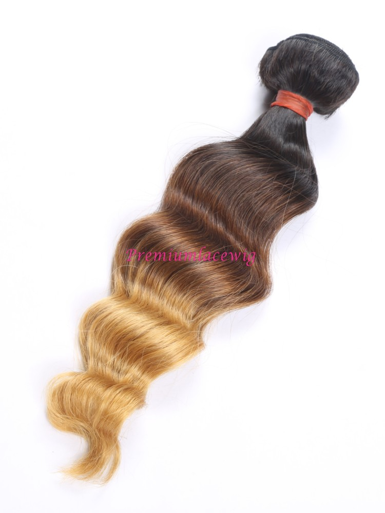 16 inch Ombre T1B/4/27 Loose Wave Brazilian Human Hair Bundles