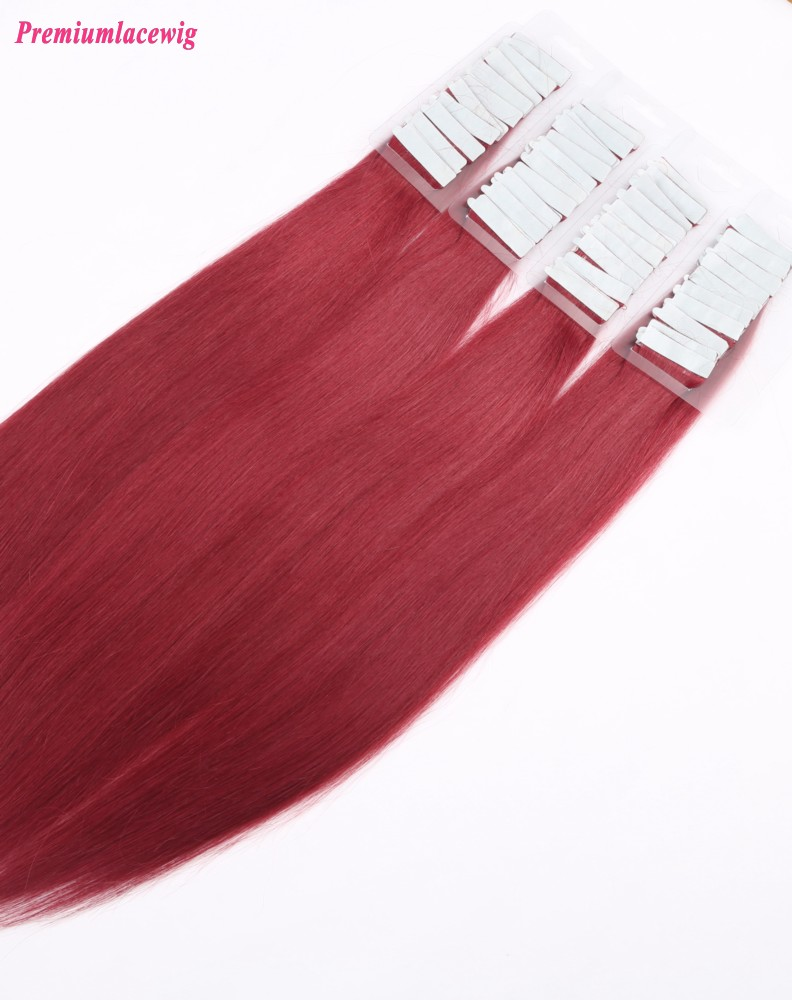 16inch Red Color Peruvian Double Tape in Human Hair Extensions