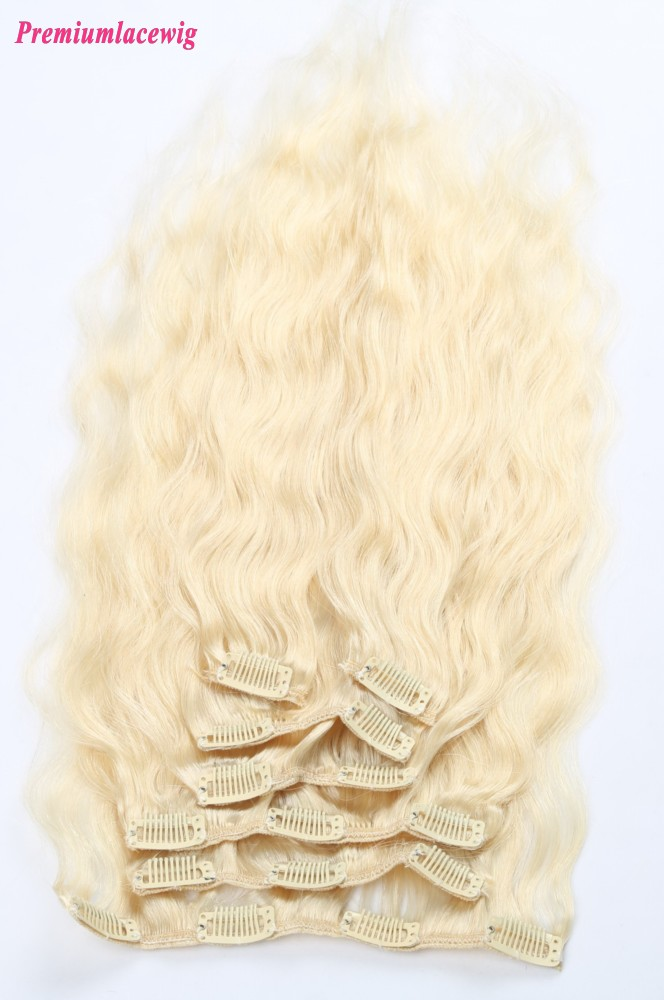 18inch #613 Blonde Body Wave Malaysian Clip in Human Hair Extensions