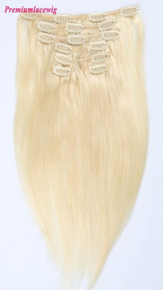 18inch #613 Blonde Straight Brazilian Clip in Human Hair Extensions