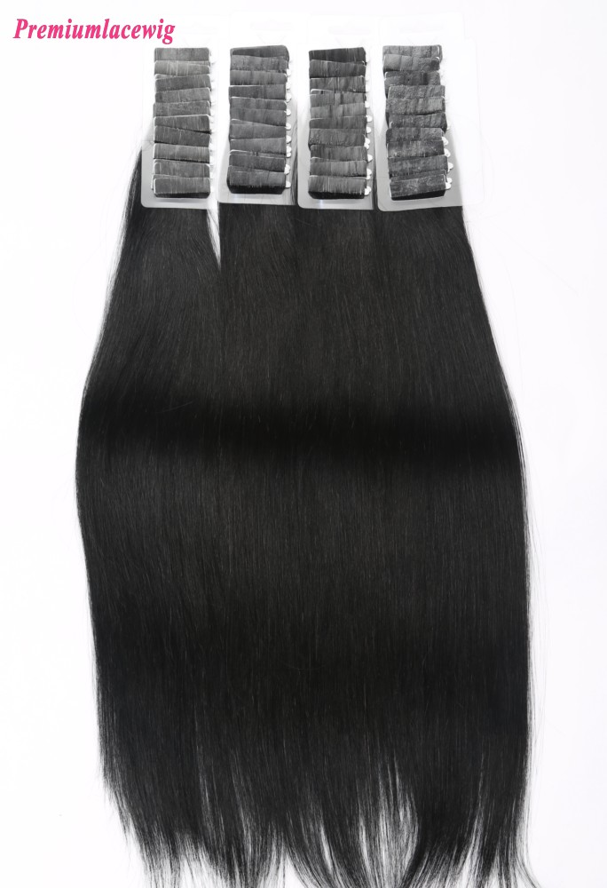 18inch #1 Jet Black Brazilian Tape in Human Hair Extensions