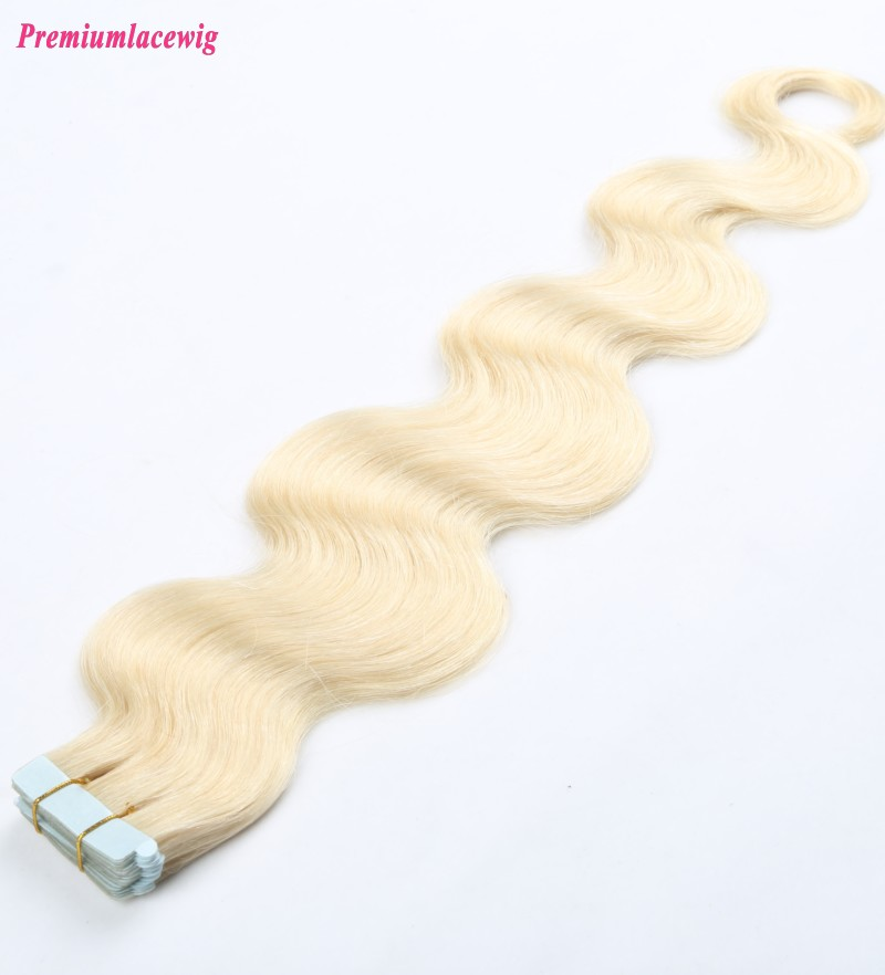 18inch #613 Blonde Body Wave Indian Double Tape in Human Hair Extensions