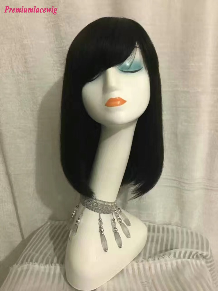 14 inch Straight Brazilian Human Hair Full Lace Wig Side Bang