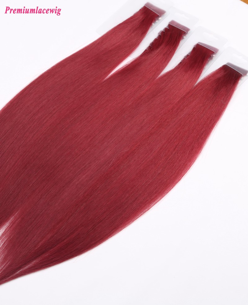 16inch Red Color Straight Malaysian Double Tape in Human Hair Extensions