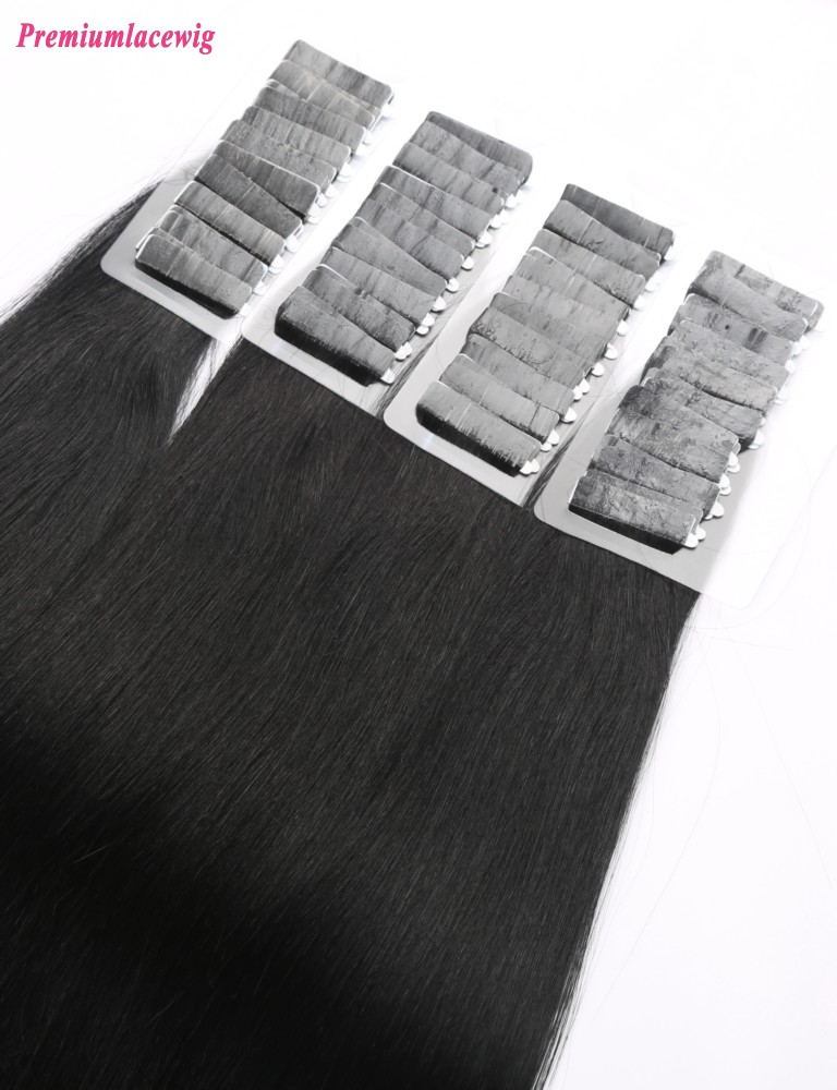 18inch #1 Straight Peruvian Jet Black Double Tape in Hair Extension