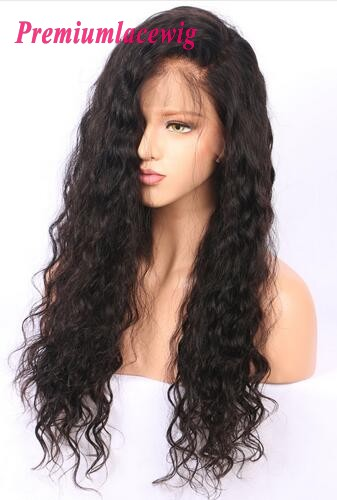 24 inch Natural Color Brazilian Deep Wave Human Hair Full Lace Wig