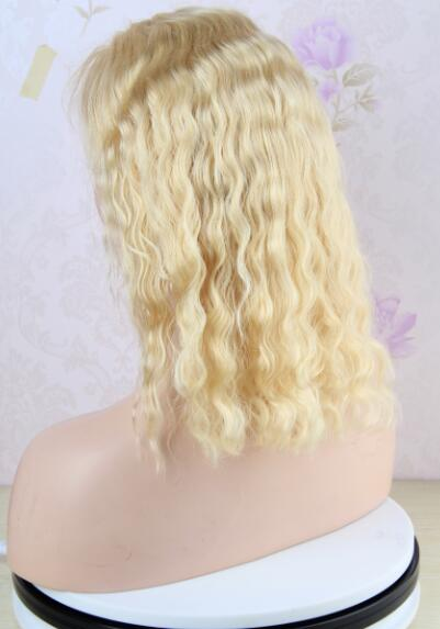 14 inch Blonde Lace Front Wig Brazilian Deep Wave Human Hair 613 Color Bob