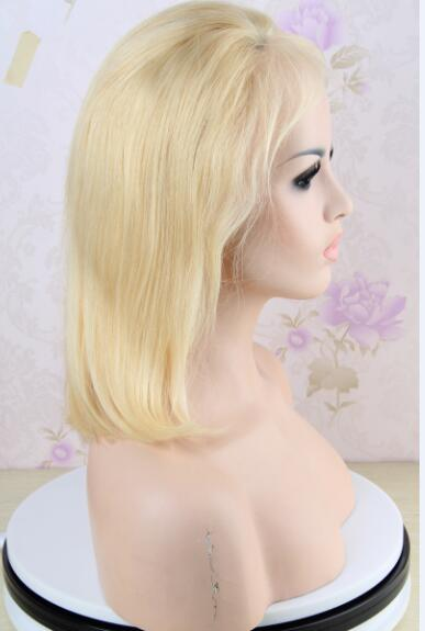 14 inch Bob Blonde Full Lace Wig Brazilian Straight Human Hair 613 Color
