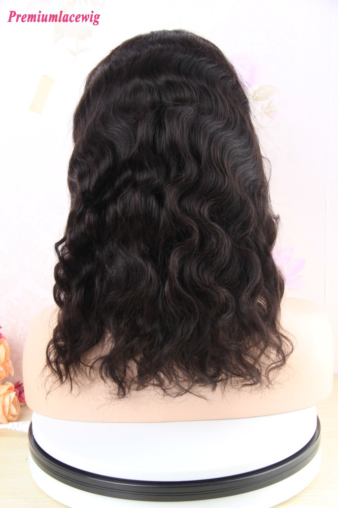 14 inch Deep Wave Bobo Full Lace Wig Malaysian Hair in 130% Densit