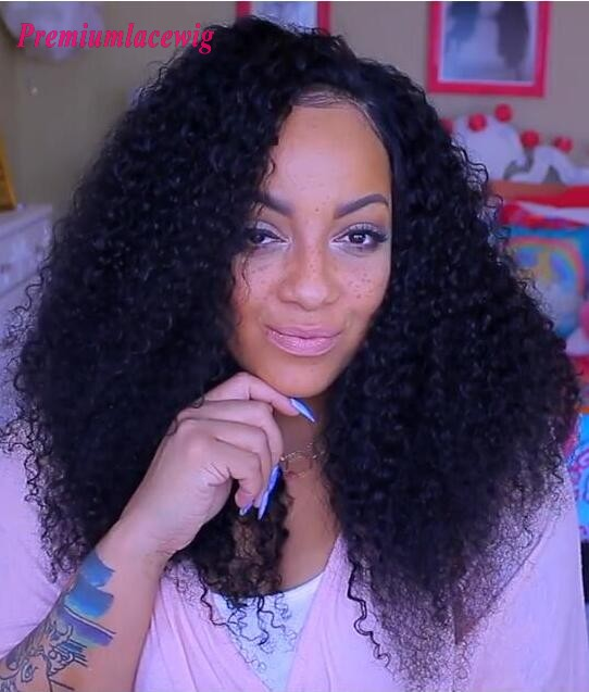 150% Density 360 Lace Frontal Wigs Brazilian Hair Kinky Curly 18inch
