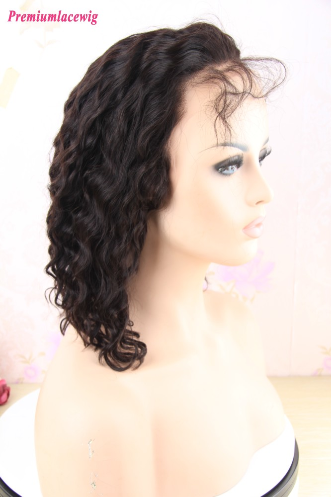 14inch 150 Density Deep Wave Full Lace Wig Peruvian Human