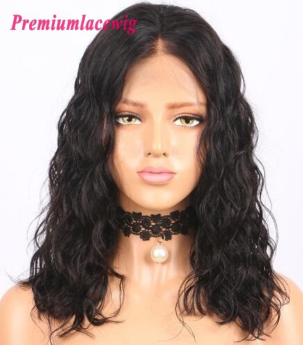 14 inch Water Wave Brazilian Hair Lace Front Wig