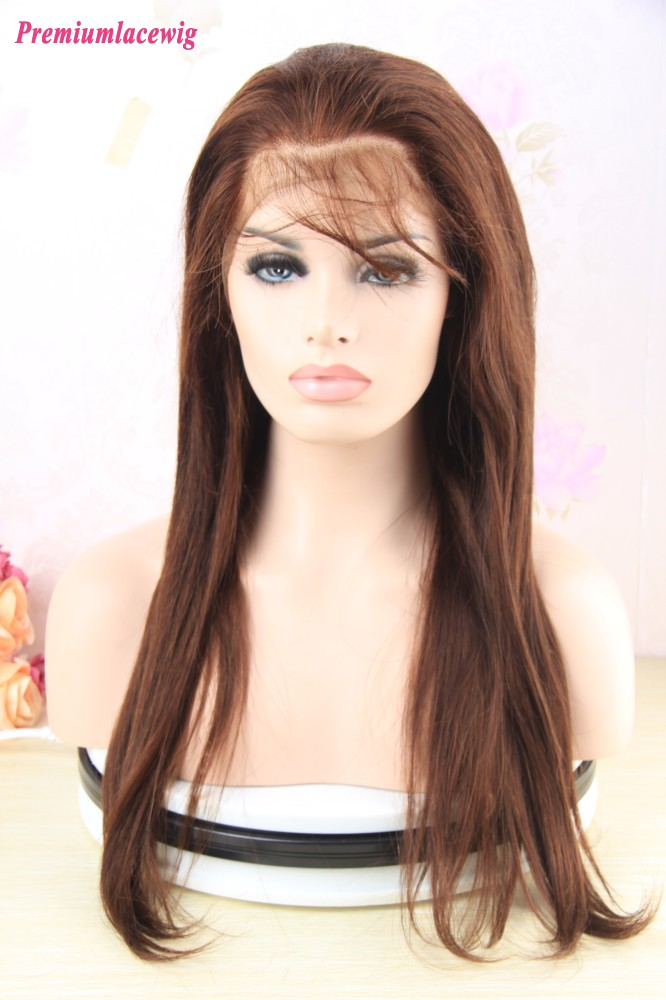 20 inch Brazilian Straight Hair 360 Lace Frontal Wigs with Baby Hair Color 4
