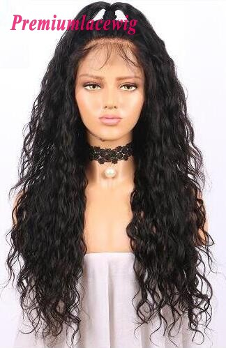 20 inch Full Lace Wig Malaysian Water Wave Human Hair