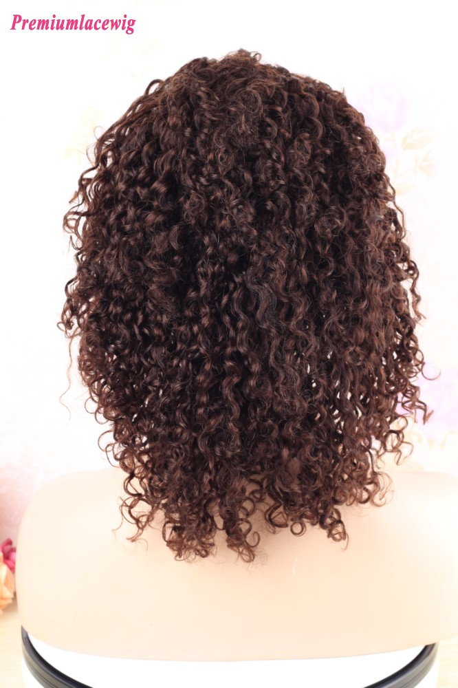 14 inch Indian 360 Lace Wig Kinky Curly Color 4