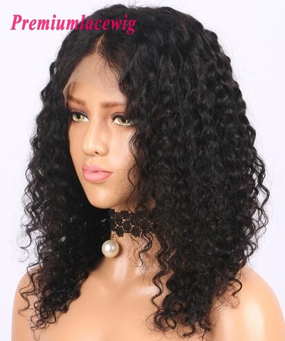 14 Inch Indian Full Lace Wig Deep Curly Human Hair Wigs