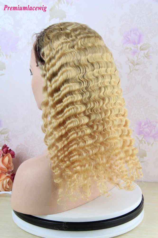 14 inch Deep Wave Full Lace Wig Brazilian Hair Color T1B-613