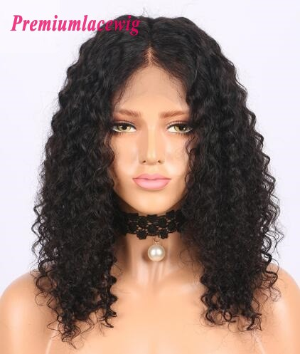 14 inch Indian Full Lace Wig Deep Curly Human Hair Wigs in 150% Density