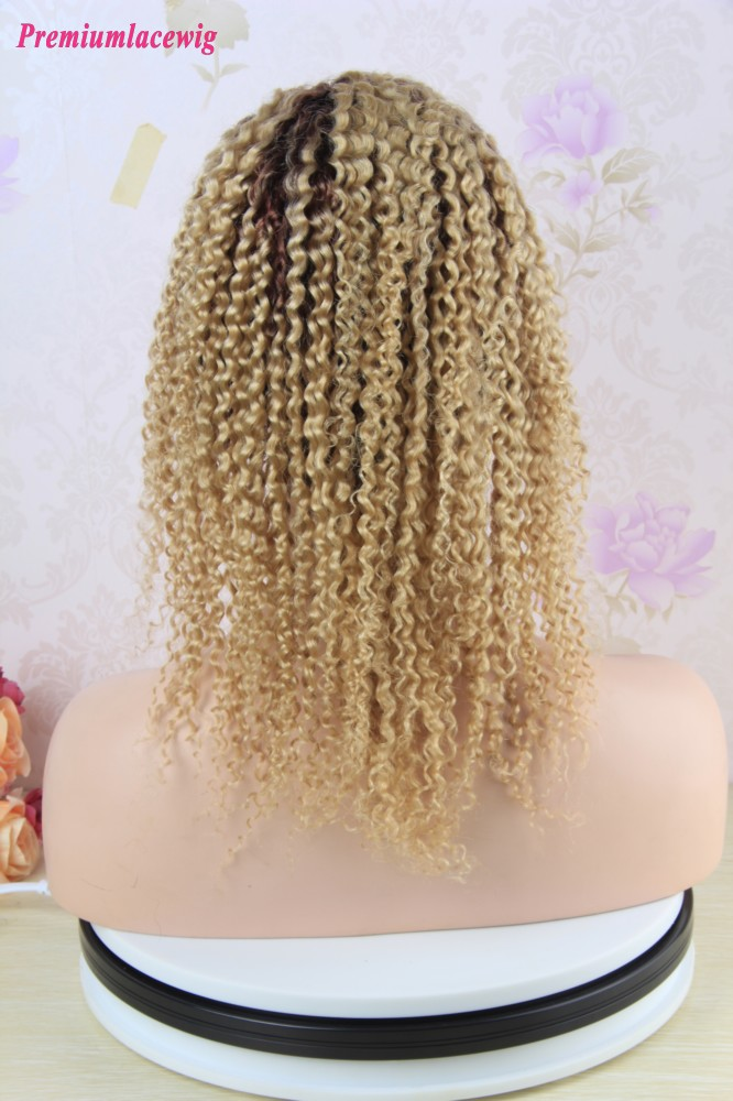 14 inch Peruvian Deep Curly Full Lace Human Hair Wigs Color T1B-613