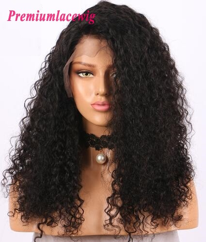 20 inch Peruvian Kinky Curly Human Hair 360 Lace Wig in 180% Density