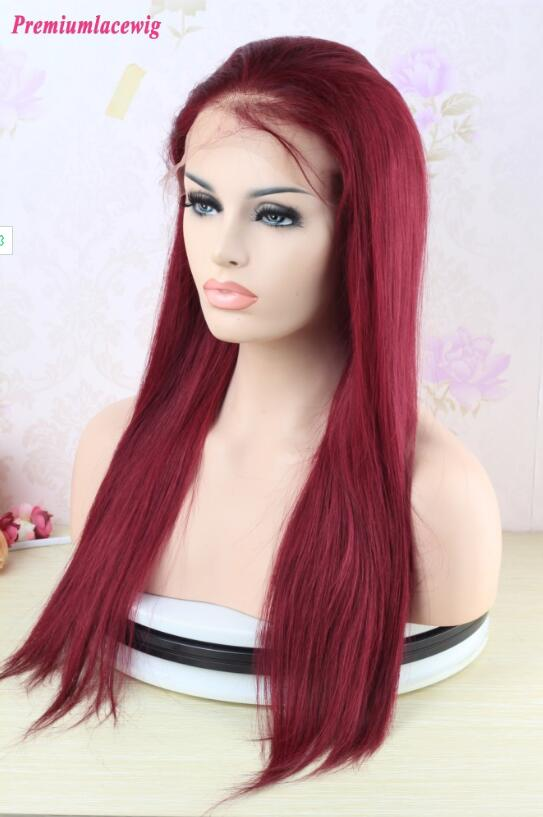 99J Burgundy Brazilian Straight 360 Lace Frontal Wigs 18inch Pre Plucked Hairline