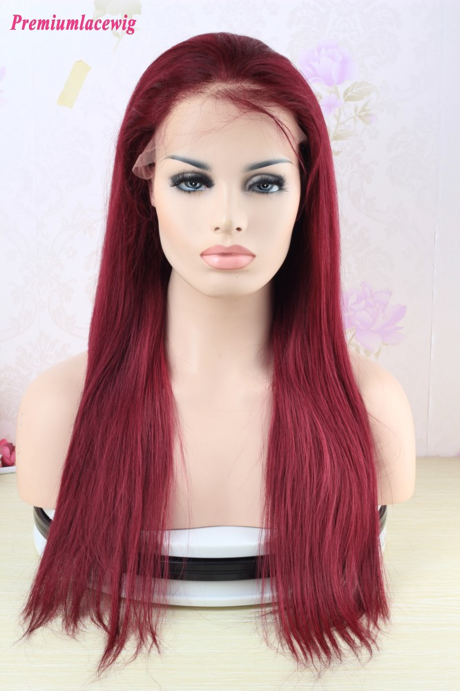 99J Human Hair Full Lace Wig Malaysian Burgundy Straight Virgin Hair 20inch