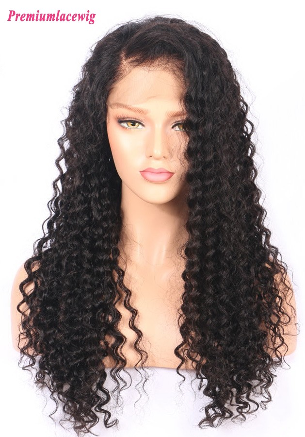 Deep Curly 150% density 18inch pre plucked 360 lace wigs