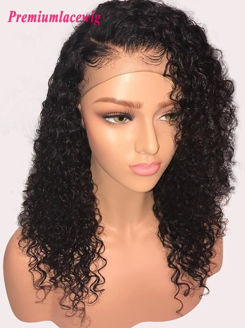 18inch Deep Curly Brazilian Virgin Hair Lace Front Wig