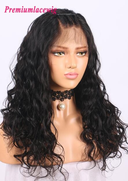 16inch Loose Wave 150% Density Peruvian Human Hair Lace Front Wig