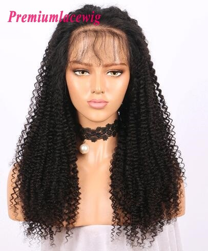 Afro Curly 20inch 150% Density Brazilian Virgin Hair Lace Front Wig