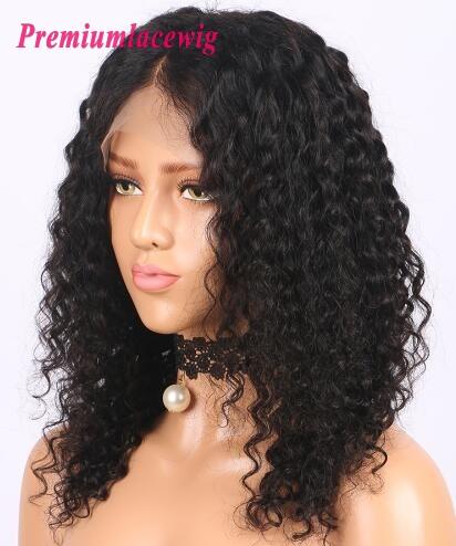 Bob Kinky Curly 14inch 150 Density Brazilian Virgin Hair Human Hair Lace Front Wig Wigs For Black Women Features Lace Front Wigs Premium Lace Wigs Pre Plucked Full Lace Wigs Human Hair Wig Peruvian Virgin Hair