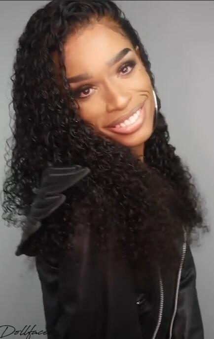 Deep Curly 22inch 180% density Brazilian 360 lace frontal wigs