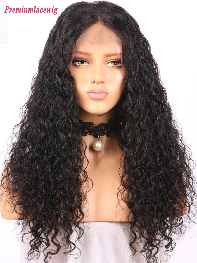 180% Density Brazilian Virgin hair Water Wave Lace front wig wholesale Human 22inch