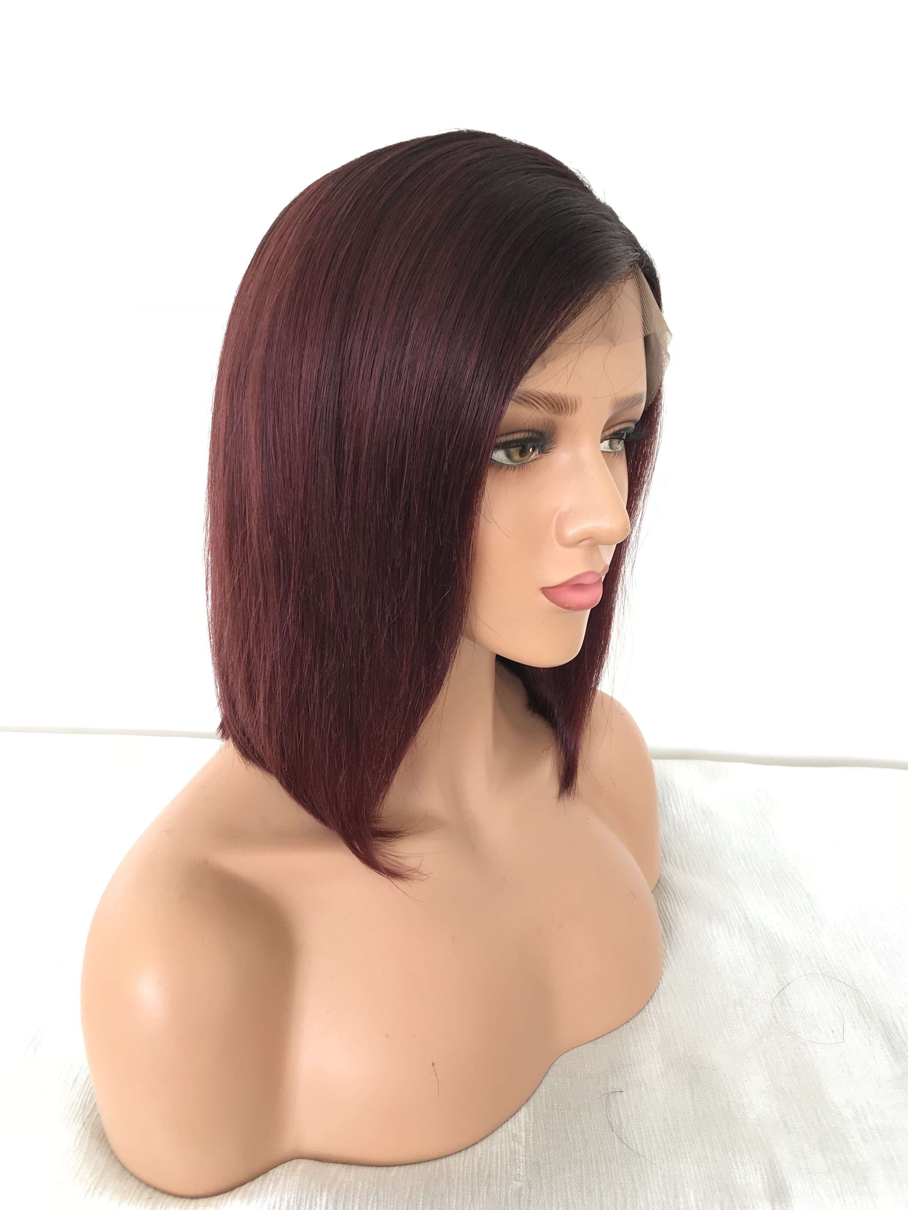 Bob Ombre T1B/99J burgundy glueless full lace wig 12inch