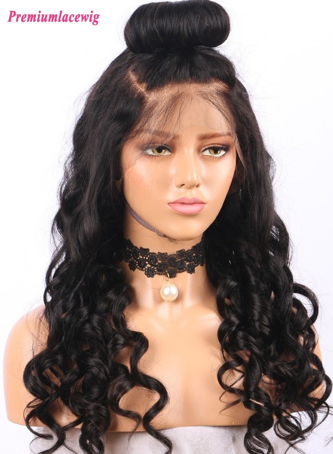 Brazilian Virgin Hair loose wave glueless full lace wigs 20inch