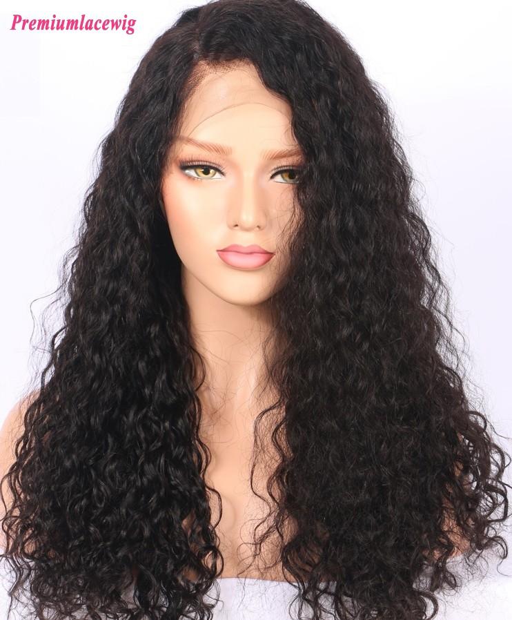 180% Density Brazilian Virgin Hair Water Curl Full Lace wig for women 22inch