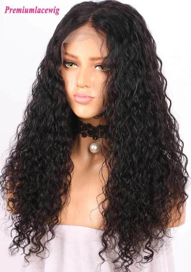 Malaysian Virgin Hair Water Curl 360 Lace Wigs Pre plucked Hairline 180% Density 22inch