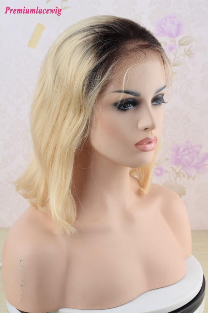 Ombre 1B/613 Brazilian BOB Lace Front Wig 12inch 150% Density