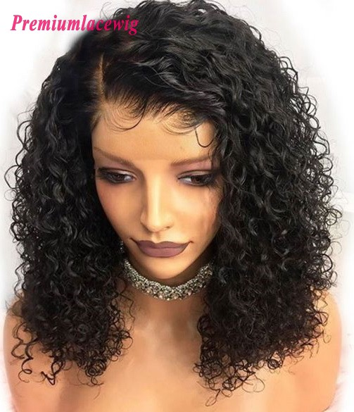 Kinky Curly Brazilian 360 Lace Wigs PrePlucked 16inch 180% Density