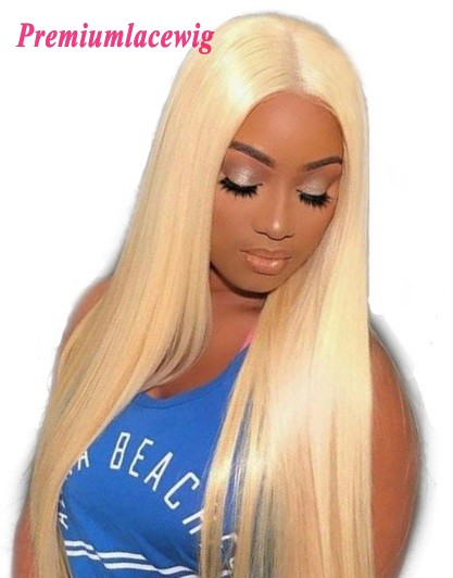 Blonde Color 613 Brazilian Virgin Hair Full Lace Human Hair Wigs Straight 18inch
