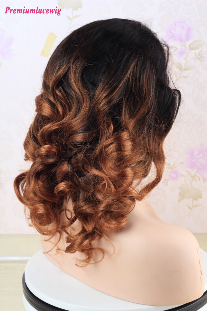 Ombre 360 Lace Wig Color T1B/30 Brazilian Human Hair funmi spirl curl 16inch