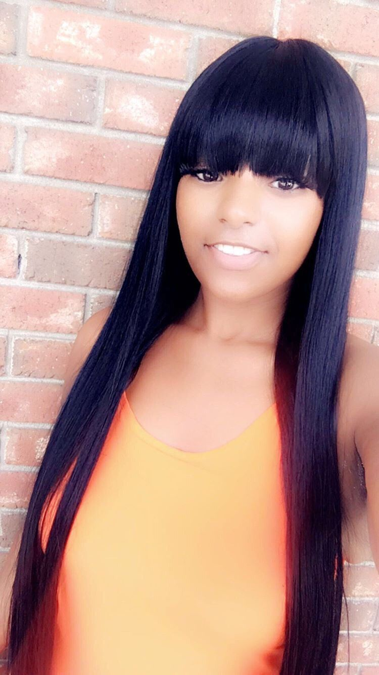 Lace Front Wig Indian Virgin Hair Straight With Bang 20inch