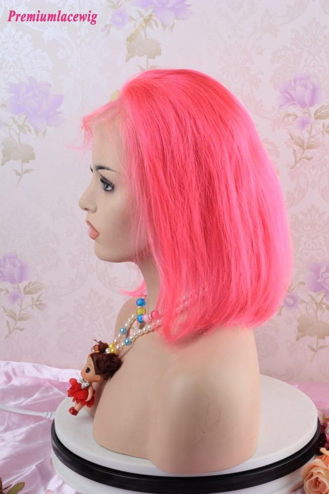 Colorful wig Pink Straight BOB 13x4 Lace Front Human Hair Wigs 12inch