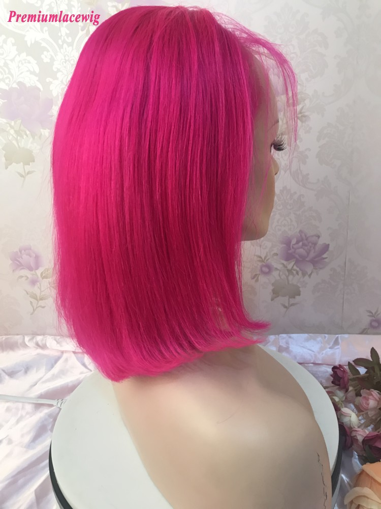 Hot Pink Bob Straight 13x4 lace front Colorful human hair wigs 12inch